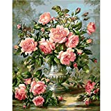Gift for Friend,Paint by Numbers DIY Oil Painting - Pink Flower