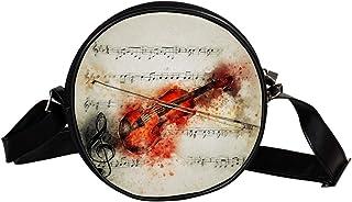 Coosun Umhängetasche für Violine, Musiknoten, Kunst, abstrakte runde Umhängetasche, Schultertasche, Handtasche für Kinder ...