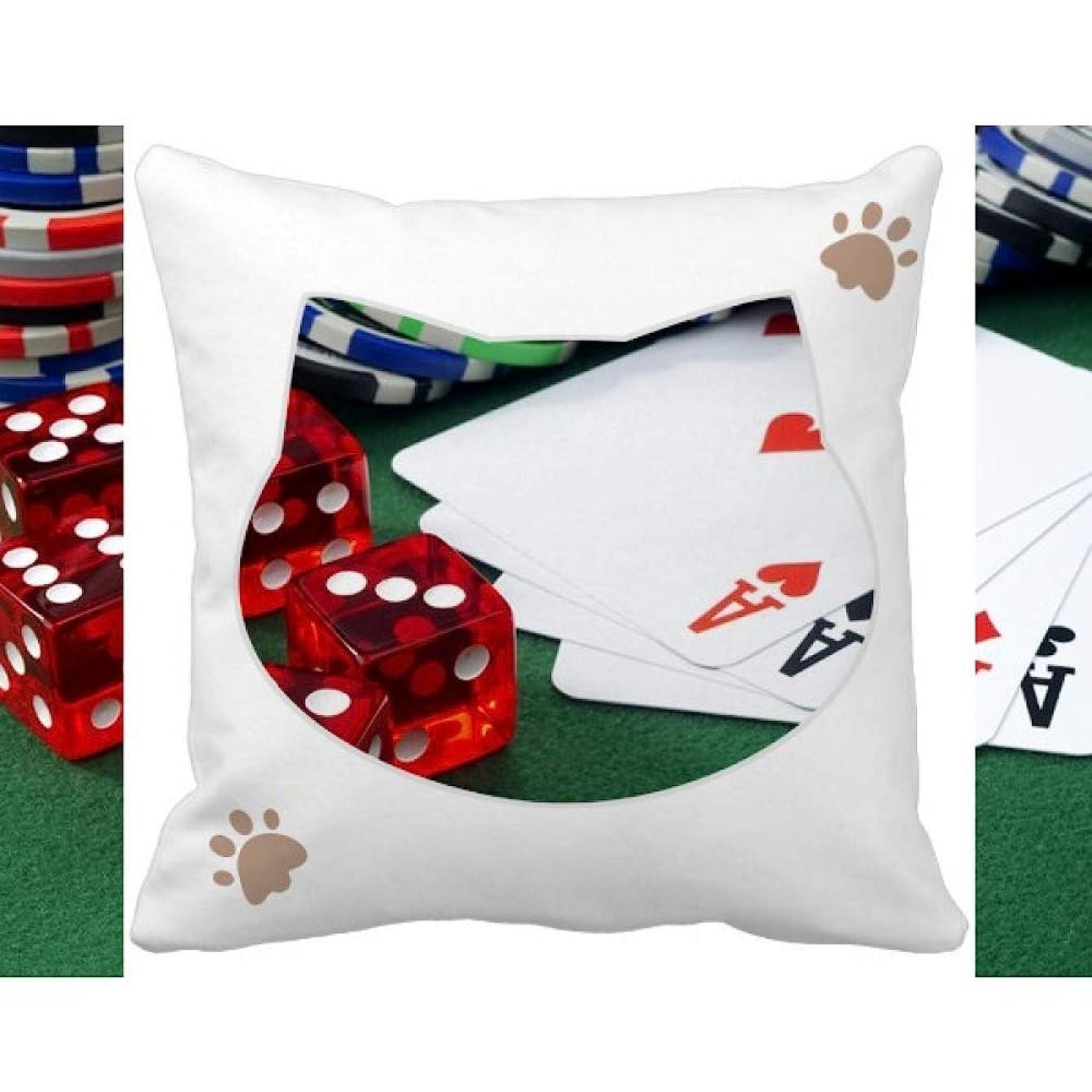 苦悩適用済みレビュアーチップポーカーサイコロ賭博の写真 枕カバーを放り投げる猫広場 50cm x 50cm
