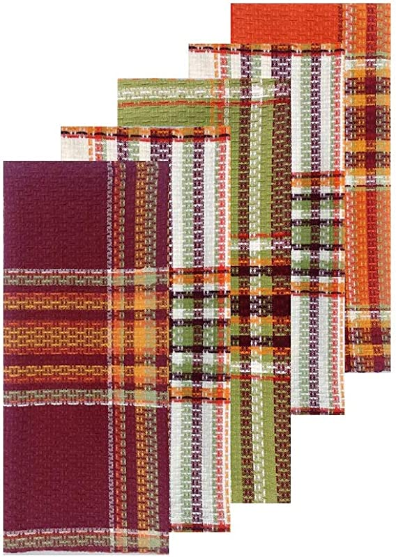 Celebrate Kitchen Dish Towels Set Of 5 Autumn Plaid For Fall Thanksgiving Harvest 16 5 X 26 Cotton Construction