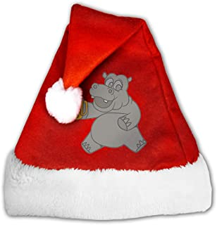 Hippo Drinking Beer Christmas Santa Hat Christmas Party Caps Decor