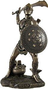 Veronese Design Bronzed Oggun God of War, Iron and Hunting Statue