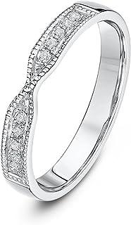 Theia 9 克拉白金 0.1 克拉钻石套装 3 毫米扭曲婚戒
