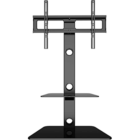 1homefurnit 壁寄せテレビスタンド 30-65インチLCD/LED/PLASMA/OLED対応 耐荷重40Kg スイベル 高さ調整可能 棚板付き 黒いグラスディスプレイスタンド