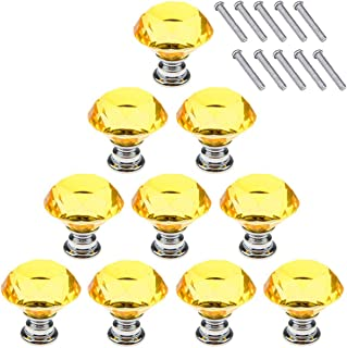 Akstore 10 Pcs Crystal Glass Cabinet Knobs 30mm Diamond Shape Drawer Kitchen Cabinets Dresser Cupboard Wardrobe Pulls Handles (Yellow)