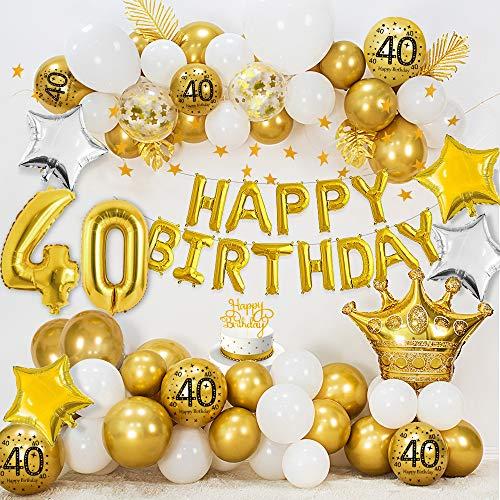 40 Cumpleaños Decoraciones para mujeres hombres,  HAPPY BIRTHDAY 40 Globos Foil,  Globos oro blanco metálico,  Globos confeti oro,  Globos estrella,  Bandera del empavesado estrellas oro,  Adorno de torta