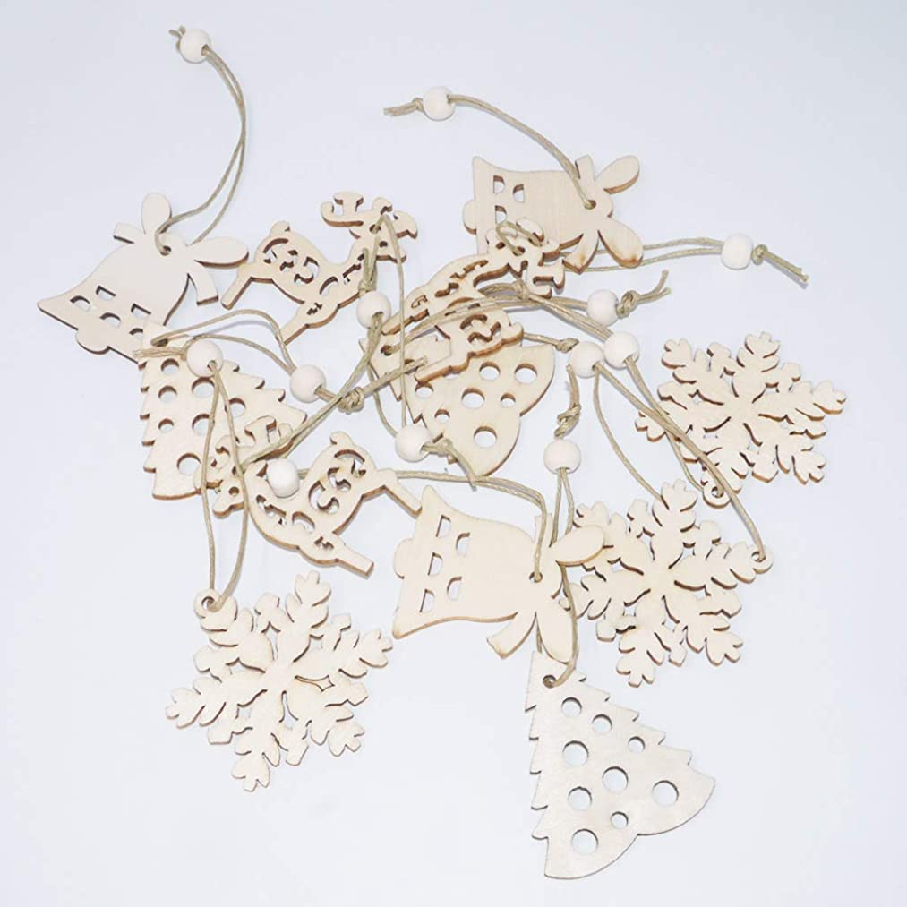 Adam Victor Merry Christmas 12Pcs Wooden Ornament Xmas Tree Hanging Tags Gift Tags Pendant Decor Christmas Decorations- Includes Jinglebell, Christmas Tree, Deer, Snowflake