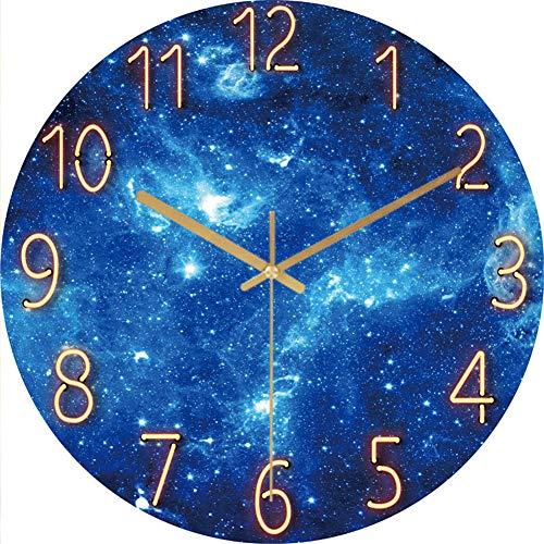 LucaSng Wanduhr Lautlos, 12-Zoll Wand Uhr ohne Tickgeräusche, Galaxie Sterne Weltraum Sternenhimmel Wall Clock Home Decor für Wohnzimmer Kinderzimmer (Stil E)