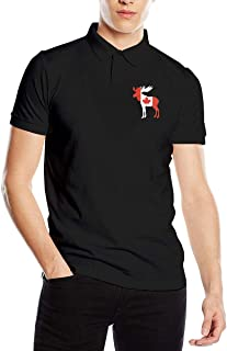 Men's Canadian Flag Moose Fit Short Sleeve Polo Shirt Tee