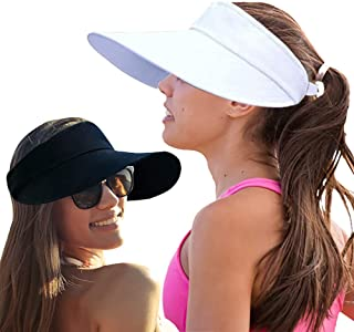 2PCS Wide Brim Sun Visor Hat Women Large UV Protective Golf Beach Cap, Korea Design