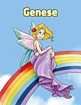 Genese: Personalized Composition Notebook – Wide Ruled (Lined) Journal. Rainbow Fairy Cartoon Cover. For Grade Students, Elementary, Primary, Middle School, Writing and Journaling