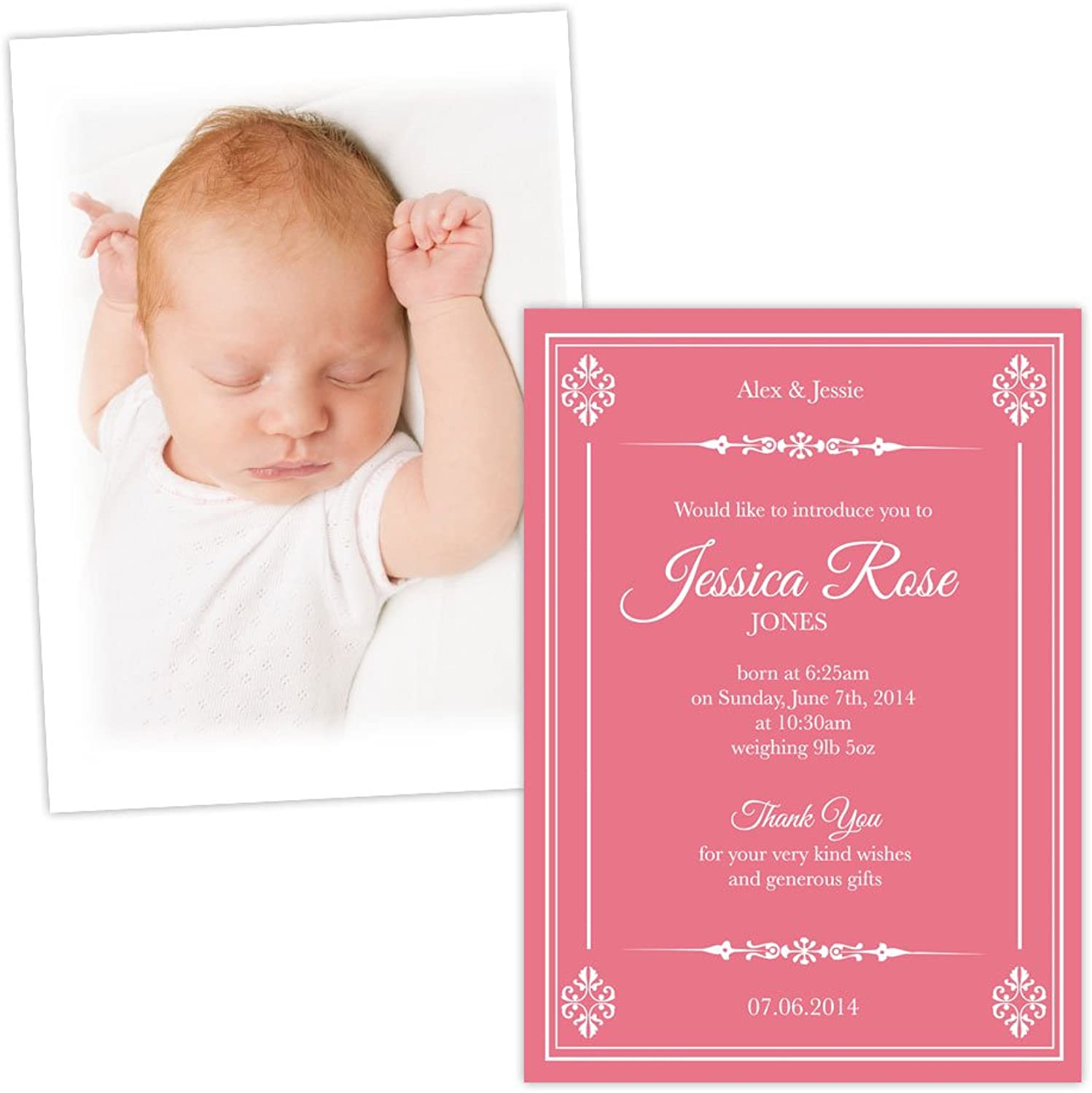 Made by Mika Personalised baby announcements CORAL WHITE VINTAGE FLORAL FREE DRAFT & FREE ENVELOPES (200, A6 folded Silk card)