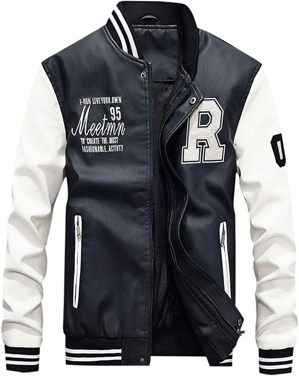 New Shipping Omaha Mall Free Men's Fashion Faux Leather Baseball Classic Lined Jacket Fleece