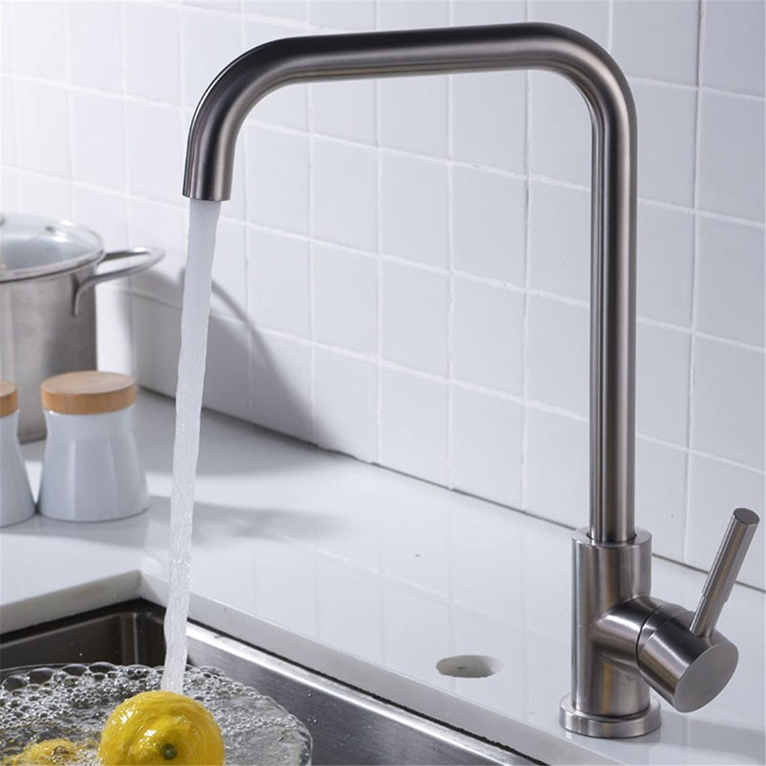 Decorry Hot and Cold Wash Basin Faucet Faucet Stainless Steel Single Single Hole Kitchen Faucet Ceramic Valve Core