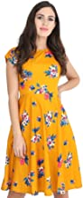 Rudraaksha Women's A-Line Knee Length Dress (Yellow)