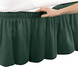 Collections Etc Wrap Around Bed Skirt, Easy Fit Elastic Dust Ruffle, Hunter Green, Queen/King
