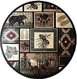 Carpet King Cabin Style Round Area Rug Rustic Western Country Bear Elk Deer Bear Wildlife Lodge Native Design 386 (4 Feet X 4 Feet)