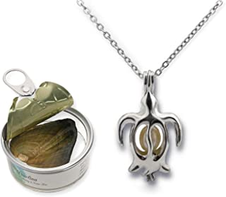 Pearlina Turtle Necklace Cultured Pearl in Oyster Set Silver Tone Plated Cage W/Stainless Steel Chain 18