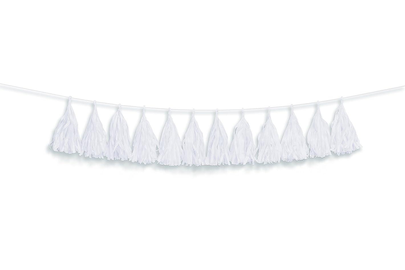 Darice White Tissue Tassel Garland, 12 Piece 6FT
