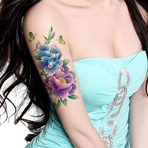 f3a4a043d TAFLY Butterfly Large Peony Flower Body Art Temporary Tattoo Transfer  Sticker 5 Sheets