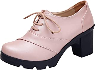 DADAWEN Women's Classic Leather Lace Up Platform Chunky Mid-Heel Round Toe Oxfords Dress Pumps