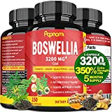 Organic Boswellia Serrata Extract Capsules 3200mg & Turmeric, Ginger, Black Pepper, Green Tea, 5 Months Supply   Joint Back, Knee Pain Relief, Muscle Relaxer   Anti Inflammation, Bone Health Support