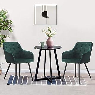 OFCASA - Juego de 2 sillas de comedor tapizadas con apoyabrazos patas de metal verde terciopelo sofá sillón para el hogar restaurante recepción salón