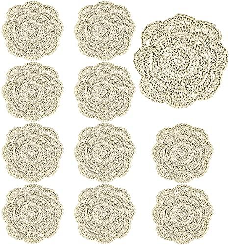 YG_Oline 10 Pack 4' Beige Doilies Cotton Coaster Cup Mat Cotton Crochet Lace...