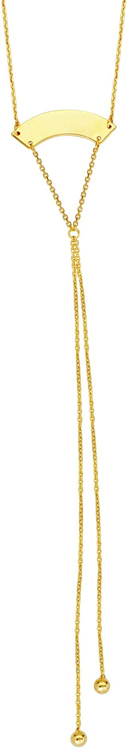 Hawley Street Y-style Lariat Necklace Curved Plate Bead Ends 14k Yellow Gold