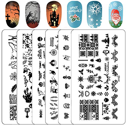 Kyerivs Nail Stamping Plates Christmas Snowflake Nail Stamping Kit Halloween DIY Nail Art Stamp Template Scraper Stamper Set, 6Pcs