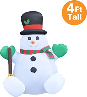 RETRO JUMP 4 Ft Christmas Inflatable Sitting Santa with Broom & Magic Hat, Led Lights Indoor Outdoor Yard Lawn Decoration - Xmas Petite Blow Up Holiday Party Display