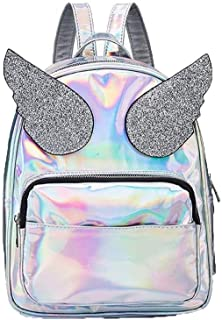 Asdfnfa Backpack, Geometric Lingge Women Rucksack Backpack Luminous Flash Travel Shoulder Bag School Backpack,Holograph for Women Fashion Womens Purse Backpack (Color : Silver)