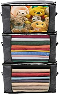 Clothes Storage Bags,Duvet Storage Bag King Size, Thick Breathable Fabric Underbed Storage Bags with Clear Windows, Bedding, Duvets and Blankets Organizer.60 x 35 x 40 cm