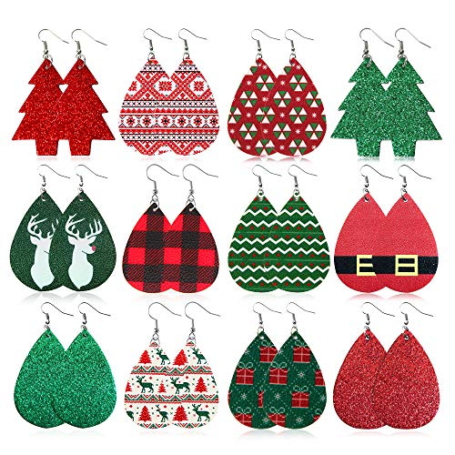 12 Pairs Christmas Leather Earrings Set for Women, Teardrop Dangle Earrings for Girls Christmas Gifts Jewelry Including Elk, Christmas Tree,Snowflake, Santa Claus Belt
