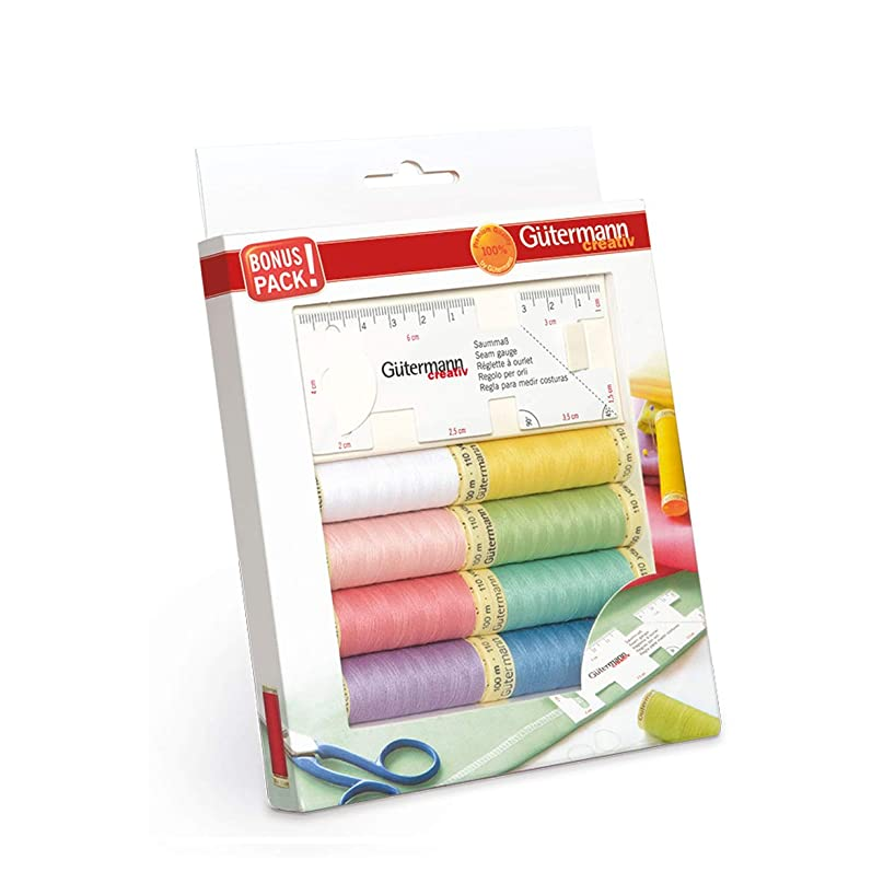 Gutermann Pastel Sew-All 100% Polyester Thread Set 8 x 100m Reels with Flexible Sewing Gauge