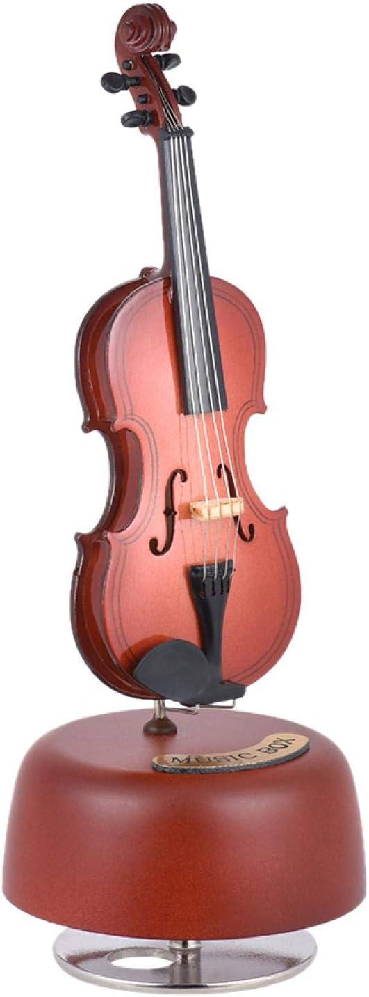 KEPOHK Caja de música clásica para violonchelo con base musical giratoria, réplica en miniatura, regalo artístico