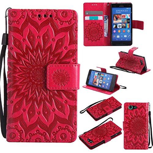 KKEIKO Cover Sony Xperia Z3 Mini, Sony Xperia Z3 Mini Magnetico Portafoglio Custodia in PU Pelle, Fiore del Sole Design Antiurto Cover per Sony Xperia Z3 Mini - Rosso
