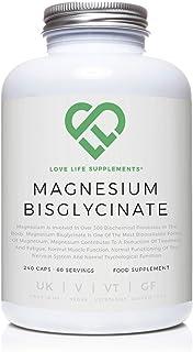 Love Life Supplements - Magnesio bisglicinato quelato, 2500mg (250mg de magnesio), 240 cápsulas/60 porciones, forma altamente biodisponible de magnesio, producto bajo licencia UK/GMP