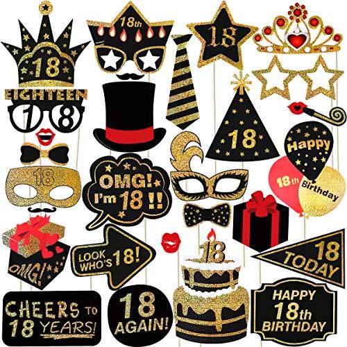 Amosfun 29pcs 18. Geburtstag Photo Booth Props Glitter Geburtstag RequisitenParty Zubehör Für Geburtstag Party Dekoration Favors Supplies
