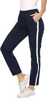 comprar comparacion Aibrou 100% Algodón Pantalones Deportivos para Mujer Pantalones de Pijama Largos Primavera Verano Pantalón de Chándal con ...