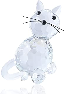 H&D Crystal Collectible Standing Cat Figurine Miniature Glass Trinket Collectible