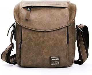 Men's Shoulder Bag, Popoti Leather Shoulder Bag Handbag Schoolbag Vintage Crossbody Bags Daypack Briefcase Multifunctional Messenger Bag (Brown)