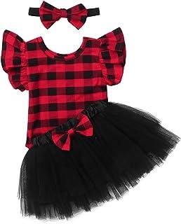 JEATHA 3Pcs Baby Girls Outfit Short Ruffle Sleeve Plaid Romper with Bowknot Mesh Tutu Skirt Headband Set