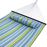 ZENY Hammock Quilted Fabric with Detachable Pillow Double Size Spreader Bar Heavy Duty Camping Hammock for Outdoor