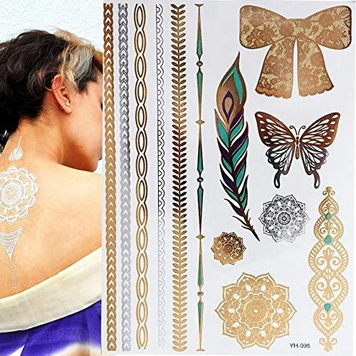 adgkitb 3 Piezas Boho metálico Colorido Impermeable Tatuaje