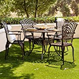 Kinger Home 5-Piece Patio Dining Set, Patio Dining Set for 4, Outdoor Table and Chairs, Metal Dining...