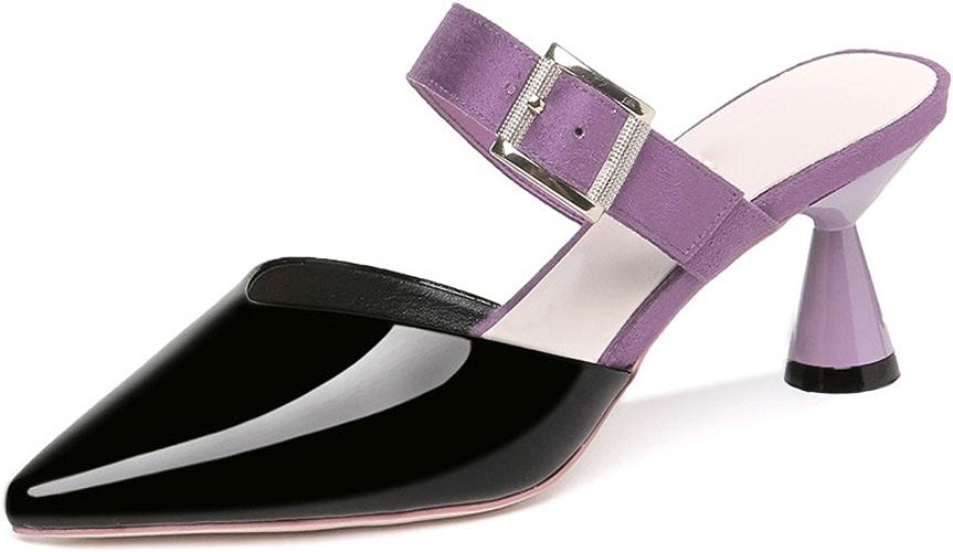 GTVERNH-Chaussures pour Femmes Baotou Semi-Pantoufles Summer 7Cm Talons Hauts Outdoor Antipatinage Souligné Mesdames Chaussures