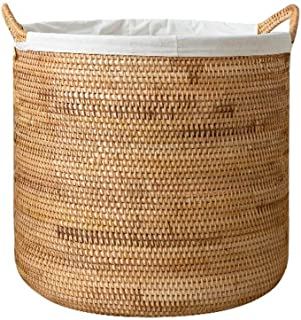Panier de rangement Rotin Paille Vêtements secs Boîte de Rangement Jouet Panier à Linge Panier à Linge Seau à Linge (Color...