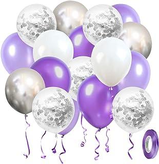 Ballon Anniversaire SKYIOL Violet Blanc Argent 30cm Hélium Métallique Confettis Ballons 10m De Ruban De Mariage Comme Enfa...