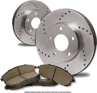 Fits: 2009 09 2010 10 2011 11 2012 12 Chevy Traverse E-Coated Slotted Drilled Rotors + Ceramic Pads KT069383 Max Brakes Front /& Rear Elite Brake Kit